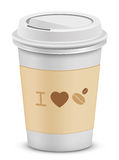 I love coffee. Plastic coffee cups with lid Royalty Free Stock Images
