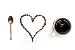 I love coffee. Shapes made from coffee beans. Isolated on white background Stock Image