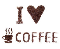 I love coffee sign made of beans Royalty Free Stock Image