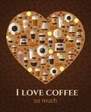 I love coffee sign in shape of heart Stock Images