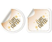 I love coffee stickers  set Stock Photo