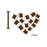 I love coffee. Symbol heart of  cups of hot coffee. Vector illus Royalty Free Stock Photo