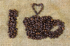 I love coffee symbols made of coffee beans Stock Images
