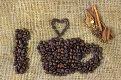 I love coffee symbols made of coffee beans on sack Stock Images
