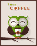I love coffee. Vector card with owl. Stock Image