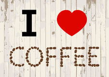 I love coffee on wooden background vector Stock Photos