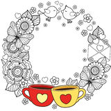 I love coffee and you. Round vignette. Abstract background made of flowers, cups, butterflies,  and birds Royalty Free Stock Image