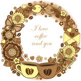 I love coffee and you. Round vignette. Abstract background made of flowers, cups, butterflies,  and birds Royalty Free Stock Images