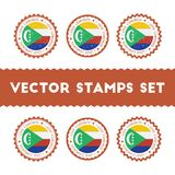 I Love Comoros vector stamps set. Stock Photography