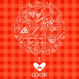 I love cook card design. Vector illustration on concept background Stock Photos