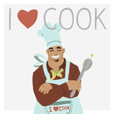 I love cook. The cute illustration greeting card banner with chef for games presentations, ui tablets, smart phones Royalty Free Stock Photos