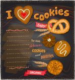 I love cookies chalkboard bakery menu. Royalty Free Stock Photography
