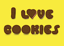 I love cookies. Sweet font Stock Photography
