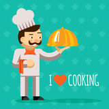 I love cooking. Cook with tray and delicious dish Royalty Free Stock Photography