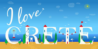 I love Crete. Unusual artistic font Stock Images