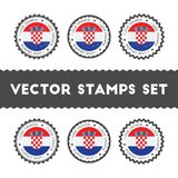 I Love Croatia vector stamps set. Stock Images