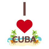 I love Cuba. Travel. Palm, summer, lounge chair. Vector flat illustration. Stock Image