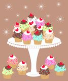 I love cupcakes. Lot of delicious cupcakes on a plate Royalty Free Stock Photo