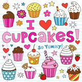 I Love Cupcakes Notebook Doodles Vector Elements Stock Photography