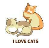 I love cute cats pets or kittens playing or posing vector flat icon. Cute cartoon cats and I love cats text and icon of kittens playing or posing. Vector Royalty Free Stock Photography