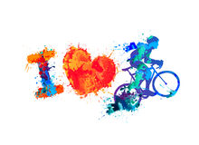 Free I Love Cycling. Splash Paint Sign Stock Photography - 75599482
