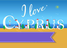 I love Cyprus. Travel card. Stock Photo