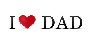 I love dad. Text with red heart Stock Image