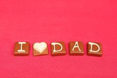 I love dad chocolates Stock Image