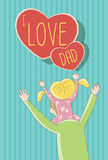 I Love Dad -Daughter sitting on father's shoulder. Cute cartoon illustration / EPS 10 Royalty Free Stock Photos