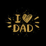 I love dad golden text with heart - gold glitter lettering Stock Photography