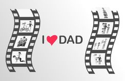 Happy Father s Day Moments on Black Film Reel Royalty Free Stock Photography