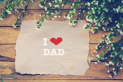 I love DAD and Happy Fathers day on brown paper Stock Images