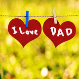 I love Dad message on Red heart shape Royalty Free Stock Photo