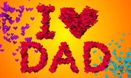 I love Dad Particles Heart Shape 3D orange background Stock Images