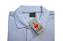 I love dad on tag price of Men's t-shirt. Royalty Free Stock Photos