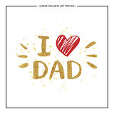 I love Dad text with red heart - gold glitter lettering Royalty Free Stock Photos
