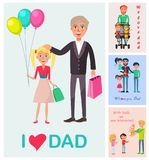 I Love Dad Poster of Daughter with Dad and Images Royalty Free Stock Photo