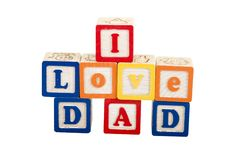 I Love Dad on white with path. In block letters stock photography