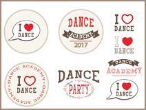 I love dance, dance academy, dance party - elements, sign, stickers, card,  templates, emblems, icons. Design  for dance studio, party, label for t-shirts Royalty Free Stock Photos