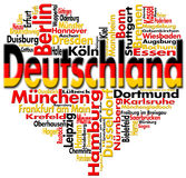 I Love Deutschland. Written Deutschland and german cities with heart-shaped, german flag colors Royalty Free Stock Photos