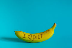 I love diet sign fresh and tasty banana Royalty Free Stock Image