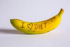 I love diet sign fresh and tasty banana Royalty Free Stock Photo