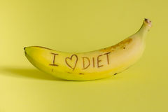I love diet sign fresh and tasty banana Stock Images