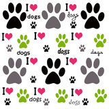 I Love Dogs Background. A multi color illustration of I Love Dogs text and paw prints Royalty Free Stock Images