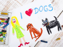 I love dogs. Colorful drawing: I love dogs Royalty Free Stock Photo