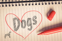 I love dogs note. On paper with a brush Stock Photos
