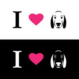 I love dogs symbolic message Stock Images