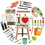 I love drawing. Paint supplies equipment tools . Vector illustration design Stock Photo