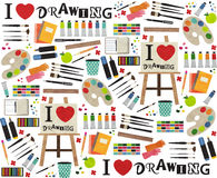 I love drawing. Paint supplies equipment tools . Vector illustration design pattern Stock Images