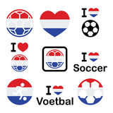 I love Dutch football, soccer icons set Stock Image